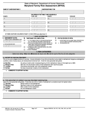 MD Family Risk Assessment Form - Maryland Department of Human