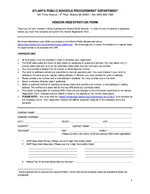 Vendor Registration Form - Atlanta Public Schools - atlanta