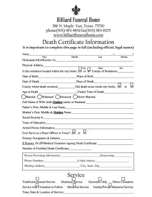 Death Certificate (PDF) - Hilliard Funeral Home form - Fill