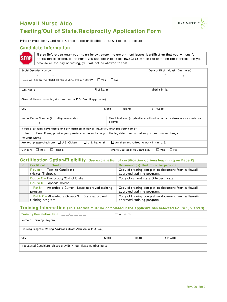 Get And Sign Hawaii Cna Reciprocity Application 2013-2021 Form