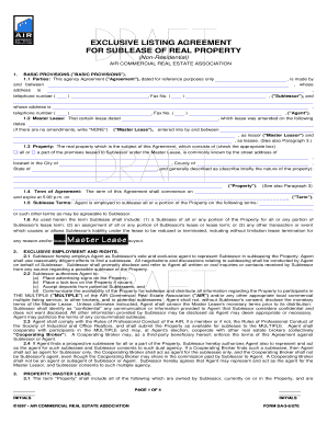 Get And Sign Exclusive Listing Agreement For Sublease Of