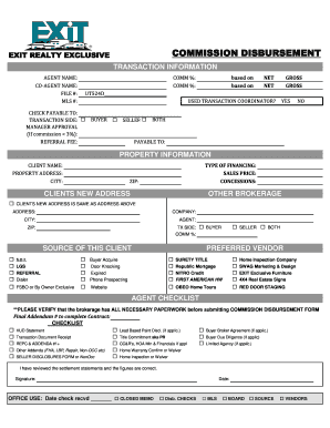 Commission Disbursement Form Realoa Fill Out And Sign