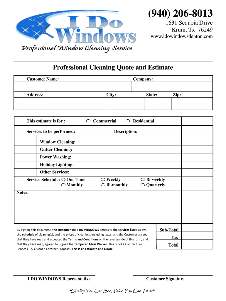 Window Cleaning Estimate Fill Out And Sign Printable Pdf Template Signnow