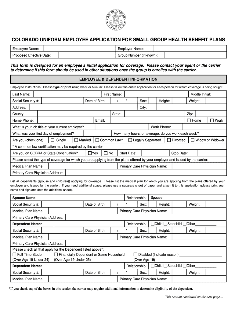 Colorado Dora Fillable Small Group Medical - Fill Out and ...