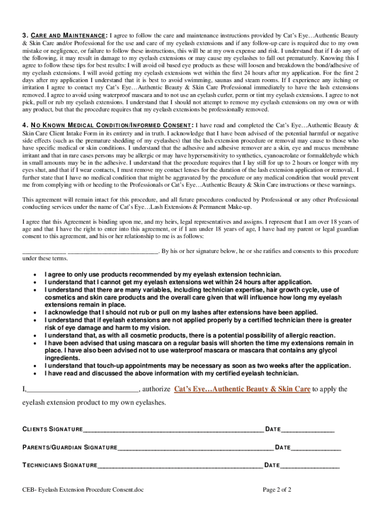 Get And Sign Eyelash Extension Consent Form