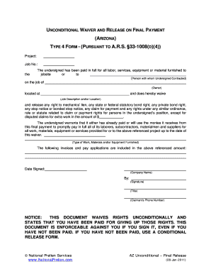 Lien release form az - Fill Out and Sign Printable PDF