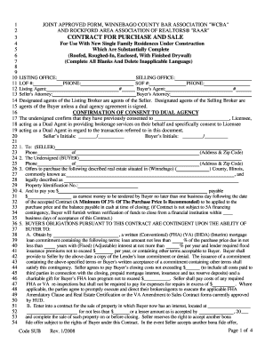 Offer To Purchase Real Estate Form Winnebago County Illinois 2008