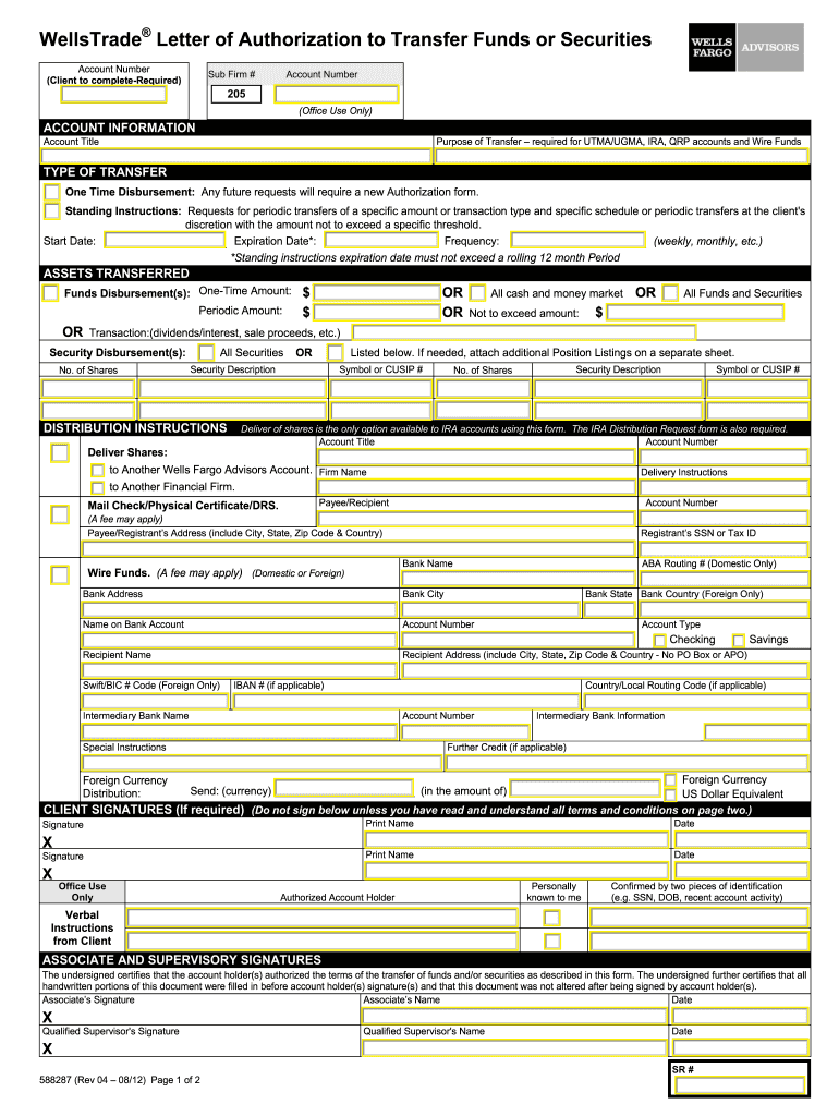 Wells Fargo Wire Transfer Form Fill