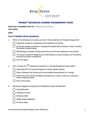 Prosci exam form - Fill Out and Sign Printable PDF Template