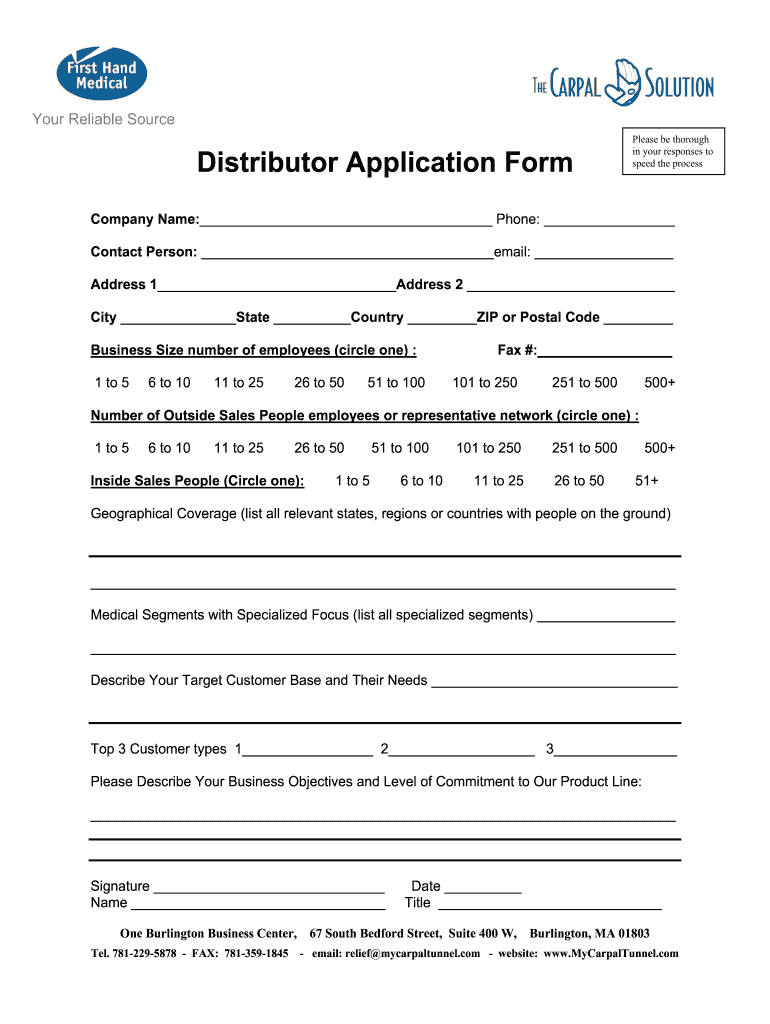 Get And Sign Distributor Application Form