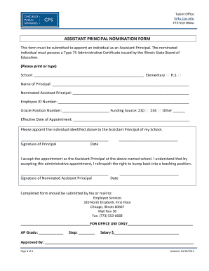 Get And Sign Assistant Principal Nomination Form Chicago Public Schools Cps 2013-2021