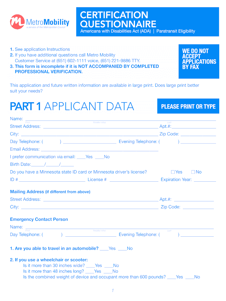 Get And Sign Metro Mobility Application Form