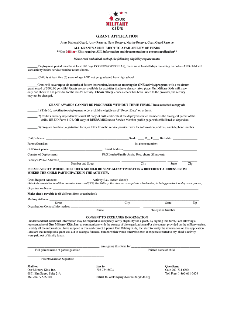 Get And Sign Our Military Kids Form