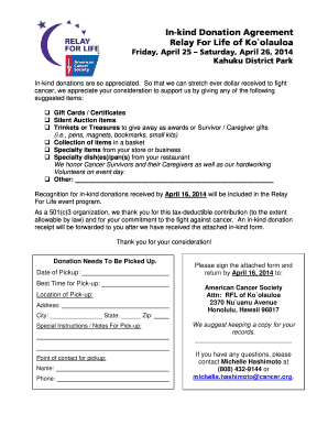 image regarding Printable Donation Form named Relay for lifestyle peaceful auction donation kinds - Fill Out and
