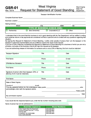 West virginia state tax department form gsr 01 - Fill Out and Sign