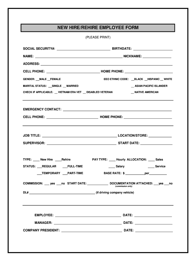 Employee Forms Fill Out And Sign Printable Pdf Template Signnow