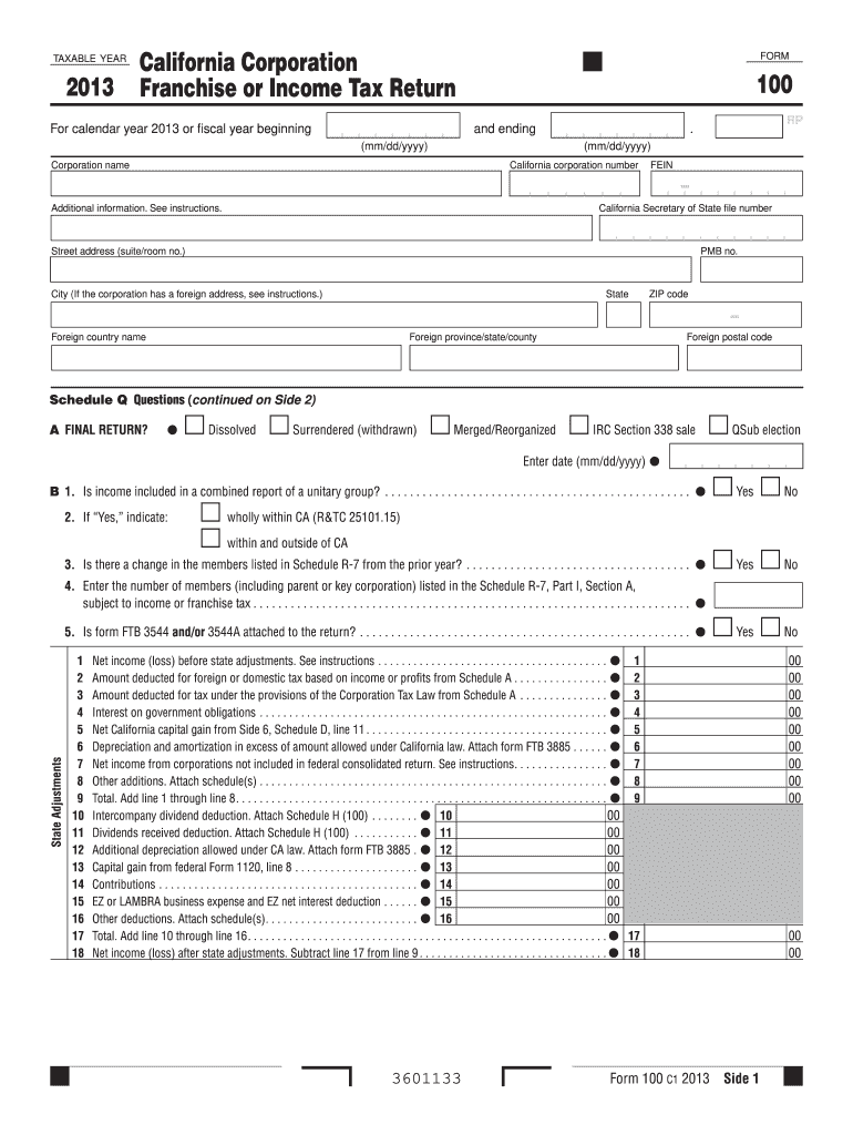 Get And Sign Form 100 California Franchise Tax Board 2019-2021