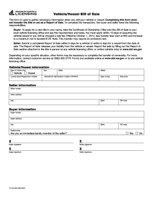 Vehicle/Vessel Bill of Sale - DOL WA gov form - Fill Out and