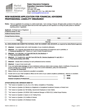 Get And Sign NEW BUSINESS APPLICATION FOR FINANCIAL ADVISORS Form