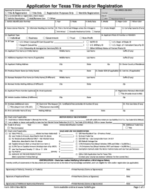 Texas 130 U >> Application Of Texas Title 130 U Form Fill Out And Sign Printable