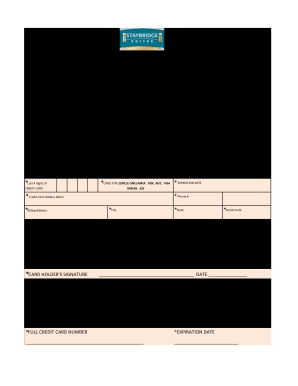 Staybridge Suites Credit Card Authorization Form Fill Out