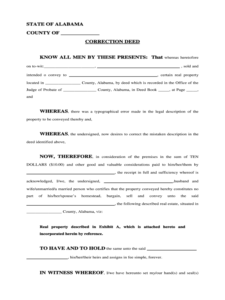 Get And Sign Correction Deed Form