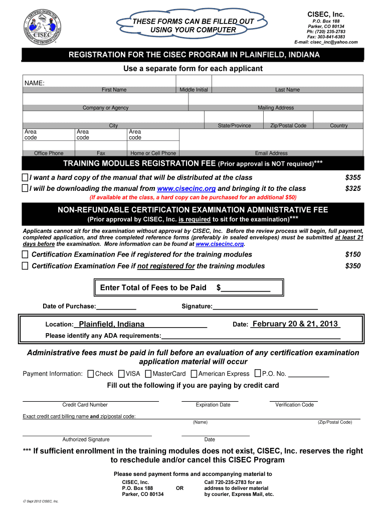 Get And Sign CISEC Registration And Application Checklist INAFSM 2012-2021 Form