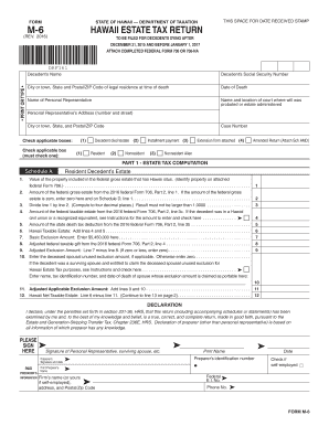 Get And Sign Instructions For Form M 6 Hawaii Estate Tax Return Rev    Hawaii gov 2016-2021