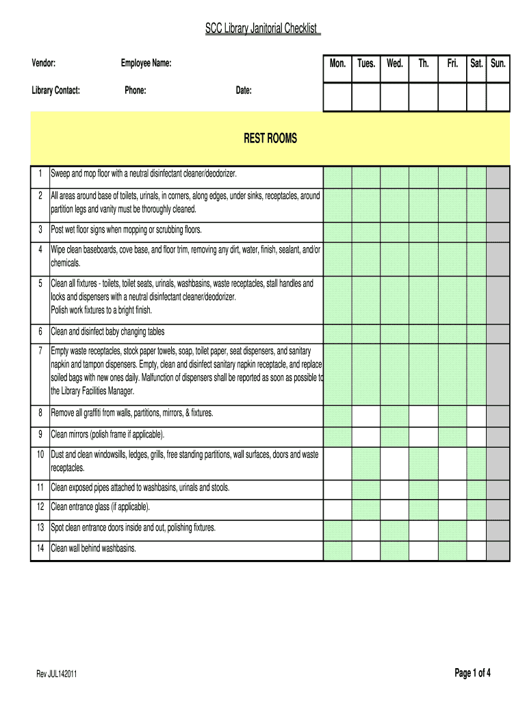 Get And Sign Checklist For Janitorial Duties 2011-2021 Form