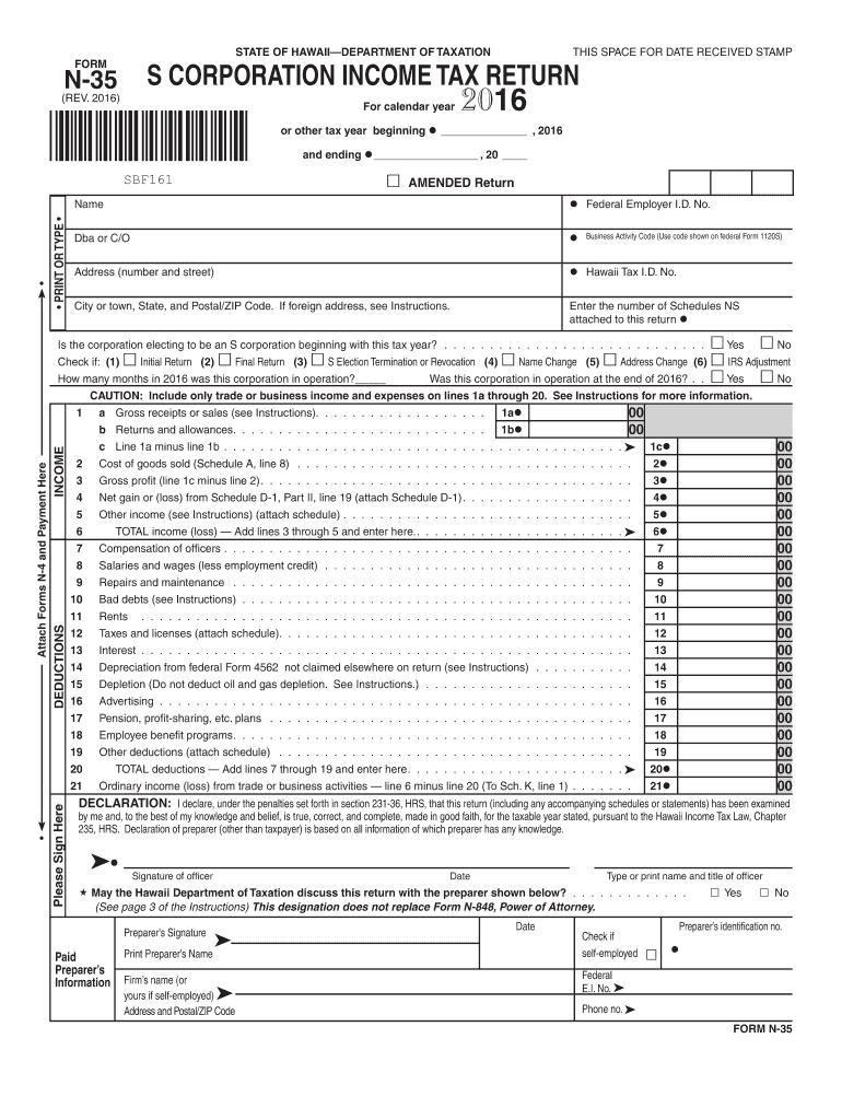 Get And Sign Hawaii Form N 35 2016-2021