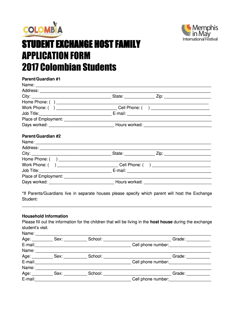 Get And Sign STUDENT EXCHANGE HOST FAMILY APPLICATION FORM Memphisinmay 2017-2021