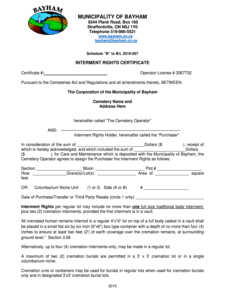 Get And Sign Interment Rights Certificate 2016-2021 Form