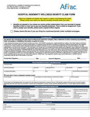 Get And Sign Hospital Indemnity Wellness Benefit Claim Form