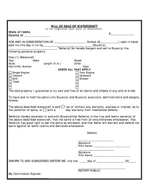 photograph about Printable Bill of Sale for Boat titled On line invoice of sale boat idaho style - Fill Out and Indicator