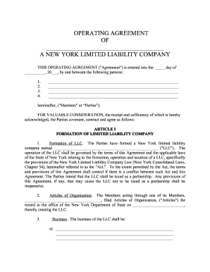 Get And Sign New York Limited Liability Company Llc Operating Agreement Form