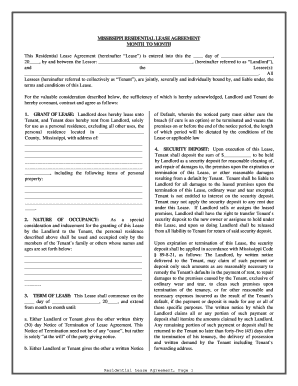 Mississippi Residential Lease Or Rental Agreement For Month