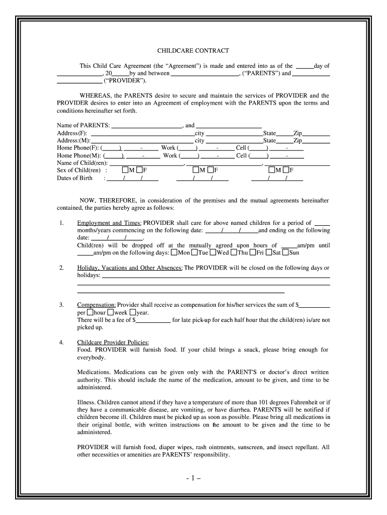Get And Sign Childcare Form