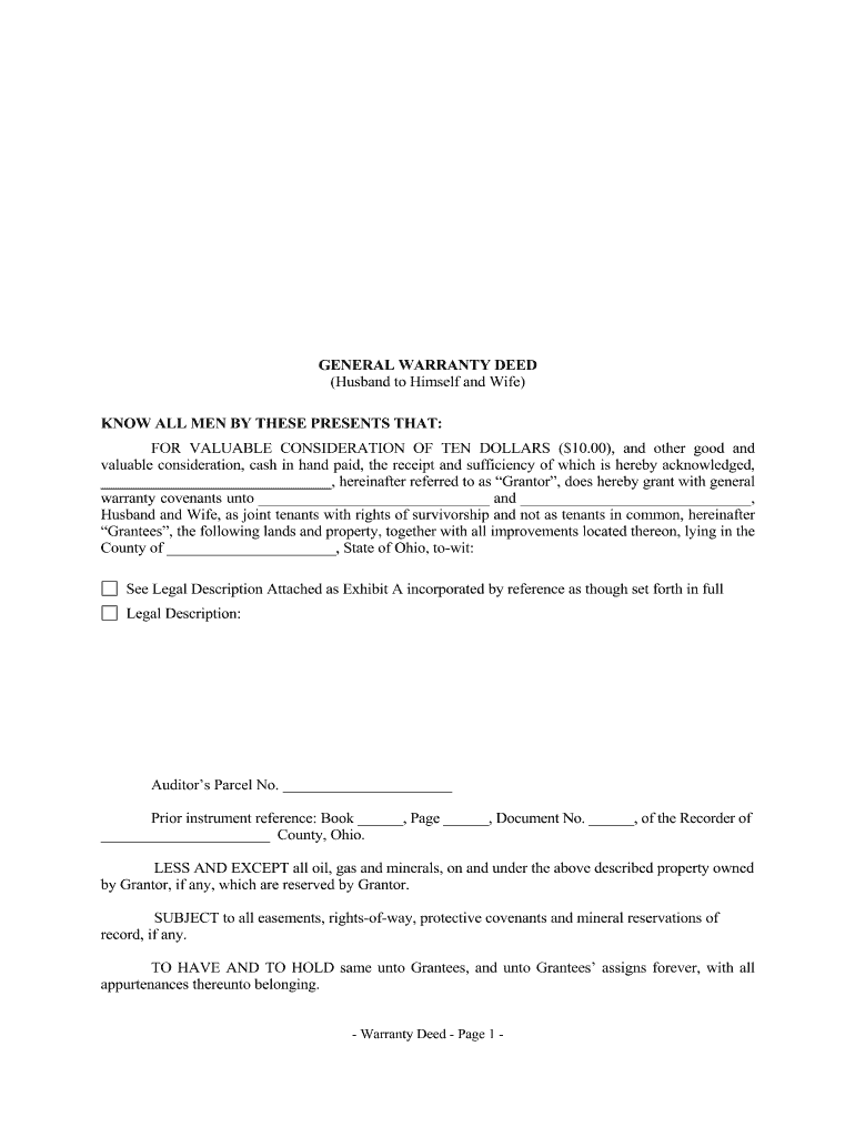 Get And Sign Ohio General Warranty Deed From Husband To Himself And Wife Form
