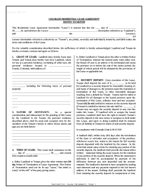 Colorado Residential Lease Or Rental Agreement For Month To