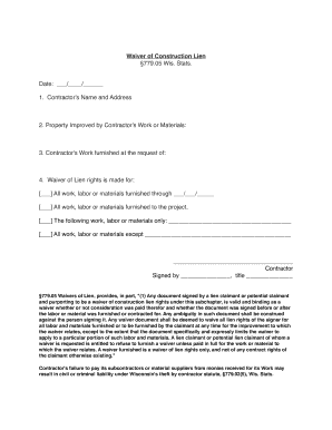 graphic about Printable Lien Form titled Wisconsin waiver structure lien sort - Fill Out and Signal
