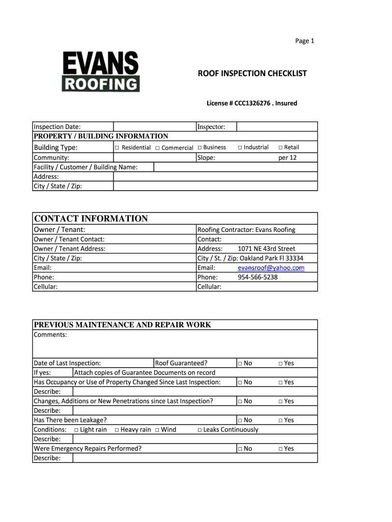 Roof Inspection Checklist Form Fill Out And Sign Printable Pdf Template Signnow