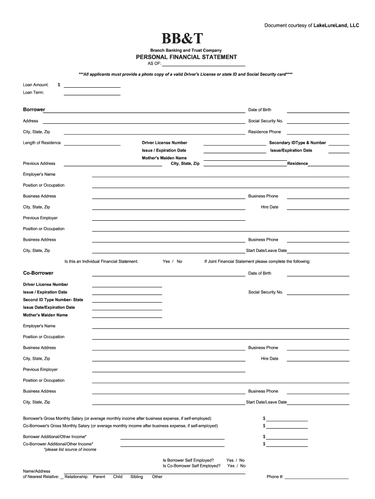 Bb T Financial Statement Form Fill Out And Sign Printable Pdf Template Signnow