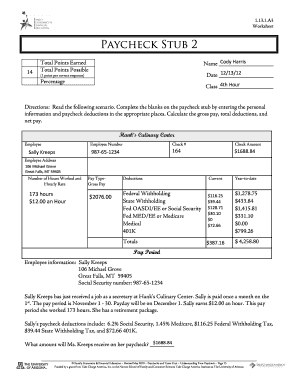 Paycheck stub 2 worksheet answers - Fill Out and Sign ...