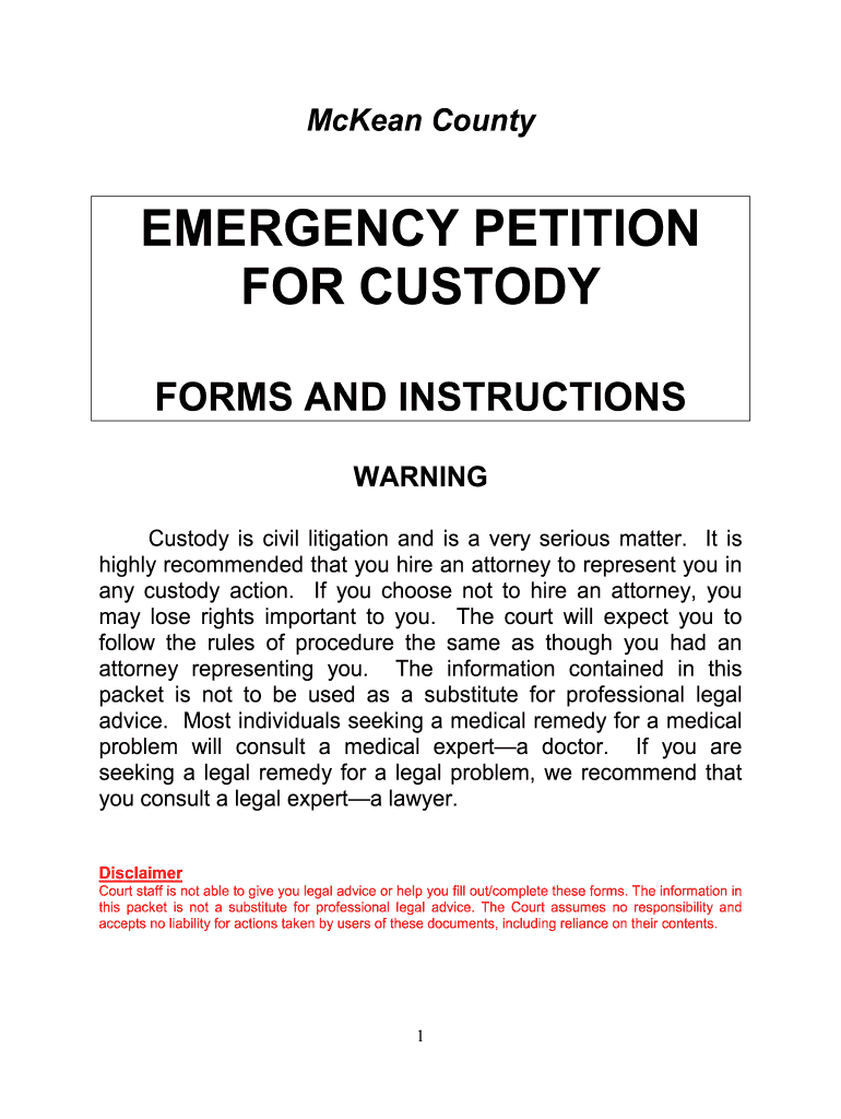 Get And Sign Mckean County Custody Forms Wiever Of Fees