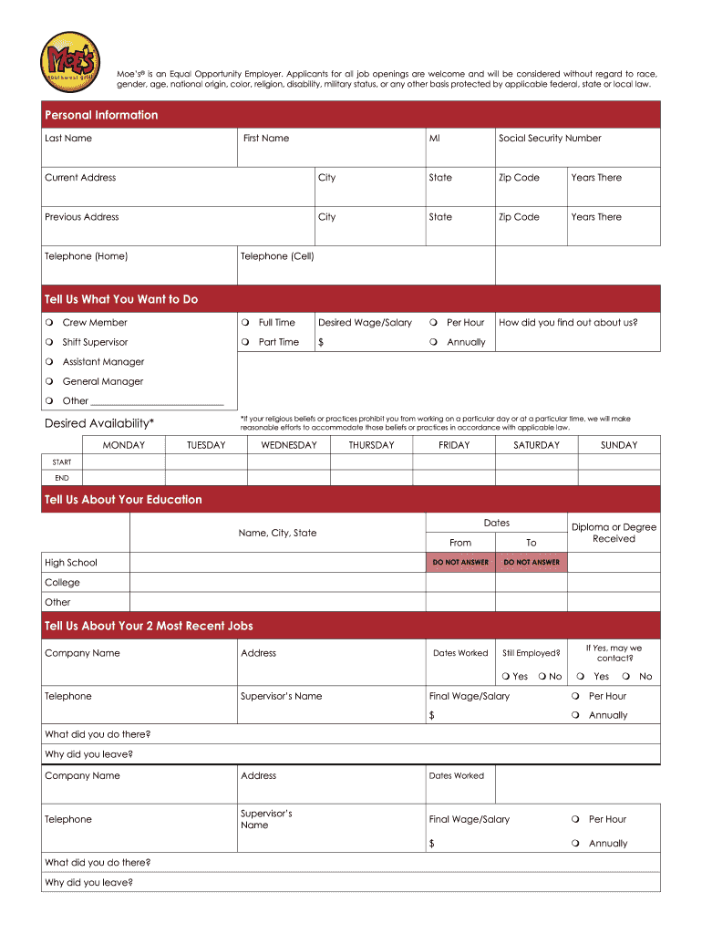 Get And Sign Moe's Printable Application Form
