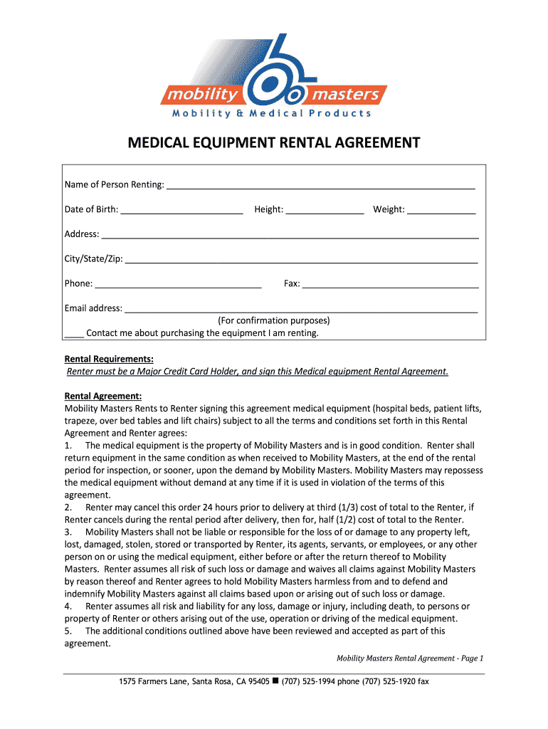 Get And Sign Equipment Rental Agreement Form