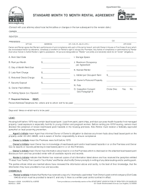Standard Month To Month Rental Agreement Home Form Fill