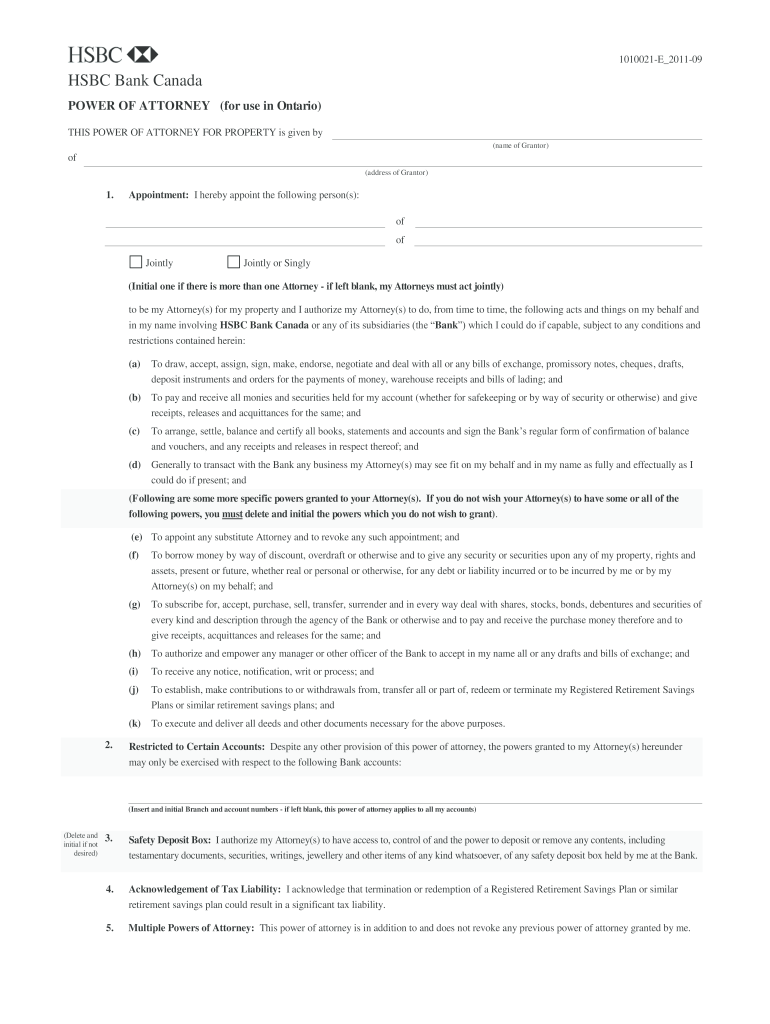 Get And Sign Power Of Attorney for Use In Ontario  HSBC  Hsbc 2011-2021 Form