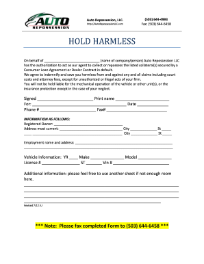 Repossession Hold Harmless Form Fill Out And Sign