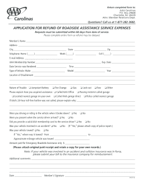 Aaa tow reimbursement nc form - Fill Out and Sign Printable